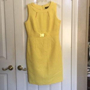 TAHARI yellow dress sleeveless